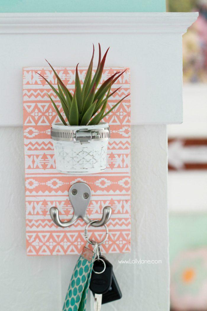 22 DIY Succulent Key Holder