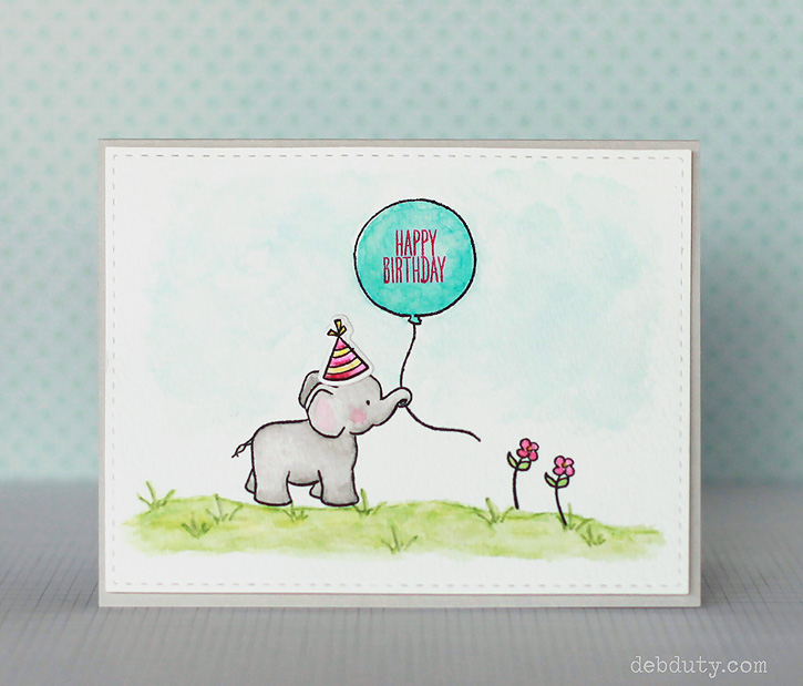 22 DIY elephant and balloon birthday card