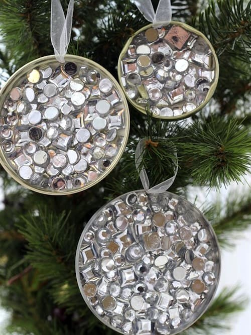 22 RHINESTONE RECYCLED CHRISTMAS ORNAMENTS