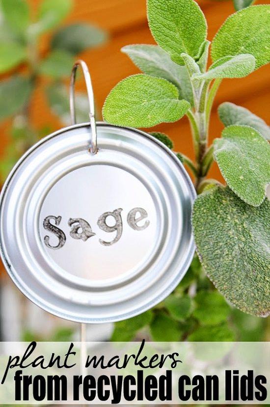 22 Tin Can Lids Garden Plant Labels