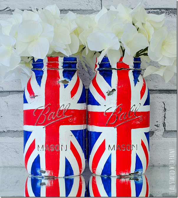 22 Union Jack Mason Jars