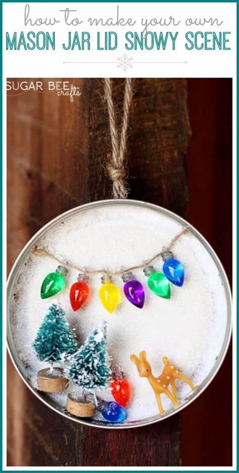 23 Mason Jar Lid Snowy Scene, decor or ornament