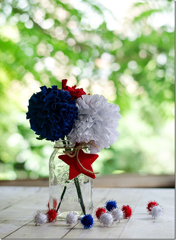25 Red White Blue Fabric Flower Centerpiece