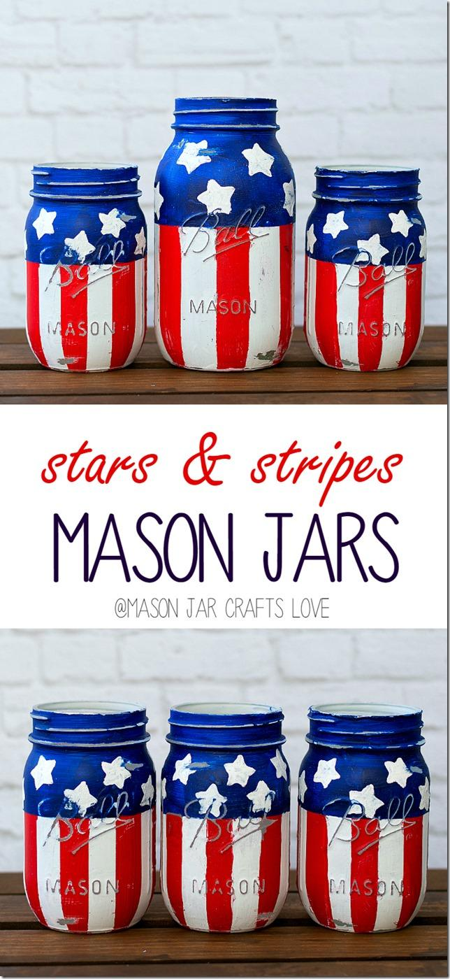 26 Patriotic Red White Blue Mason Jars