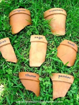3 Broken Terracotta Pot Markers