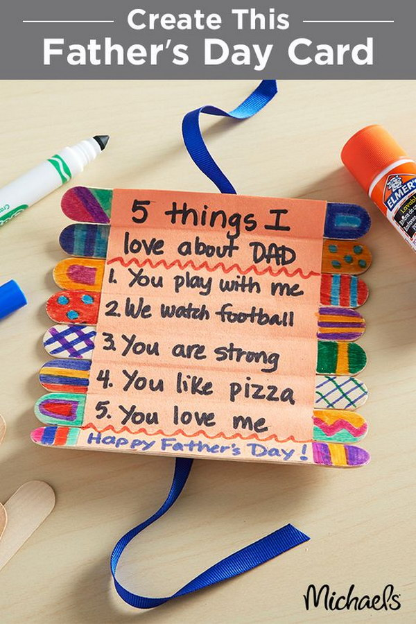 3 Father's Day Craft Stick Roll-Up Card