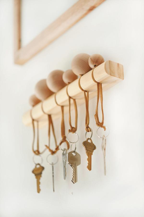 30 Minimalist Wood and Leather Key Holder