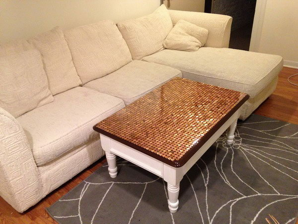30 Penny Top Coffee Table DIY