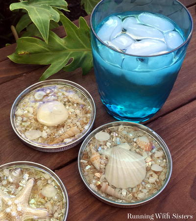 30 Seashell Jar Lid Resin Coasters