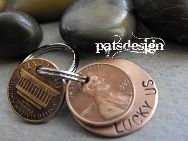 31 Lucky Copper Keychain with Two Lucky Pennies