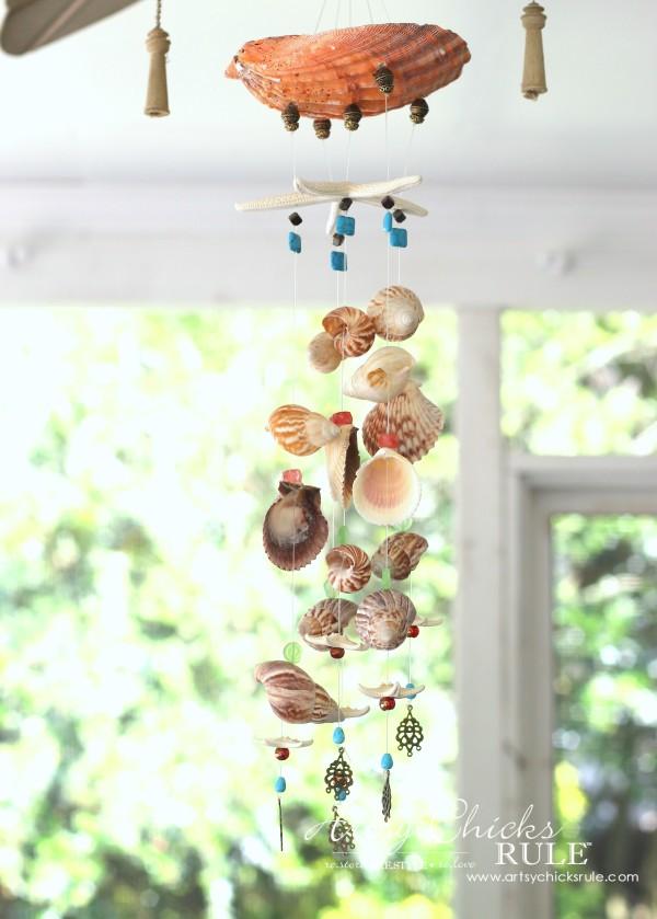 32 DIY Seashell and  Bead Wind Chime