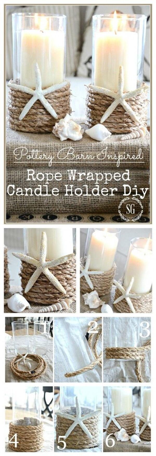 33 DIY Candleholders with Starfish and Rope