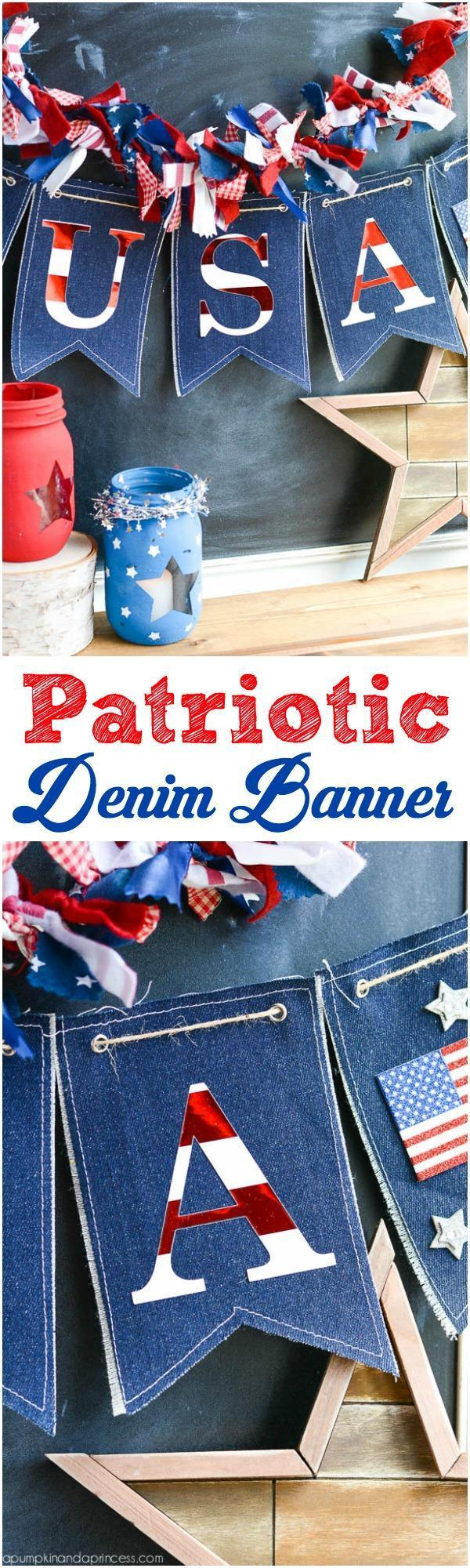 36 DIY Patriotic Denim Banner