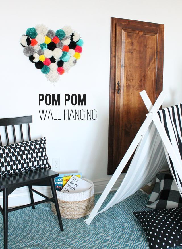 37 pom pom wall heart hanging
