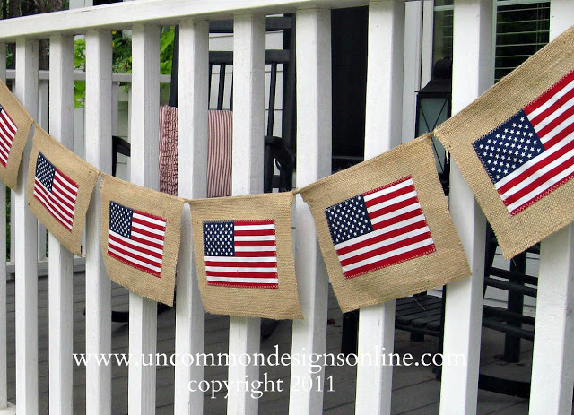 39 4TH OF JULY BURLAP FLAG BANNER