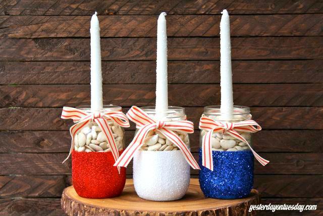 4 4th of July Mason Jar Candle Holders
