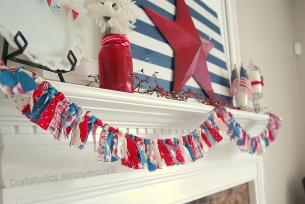 40 Patriotic Scrappy Fabric Bunting