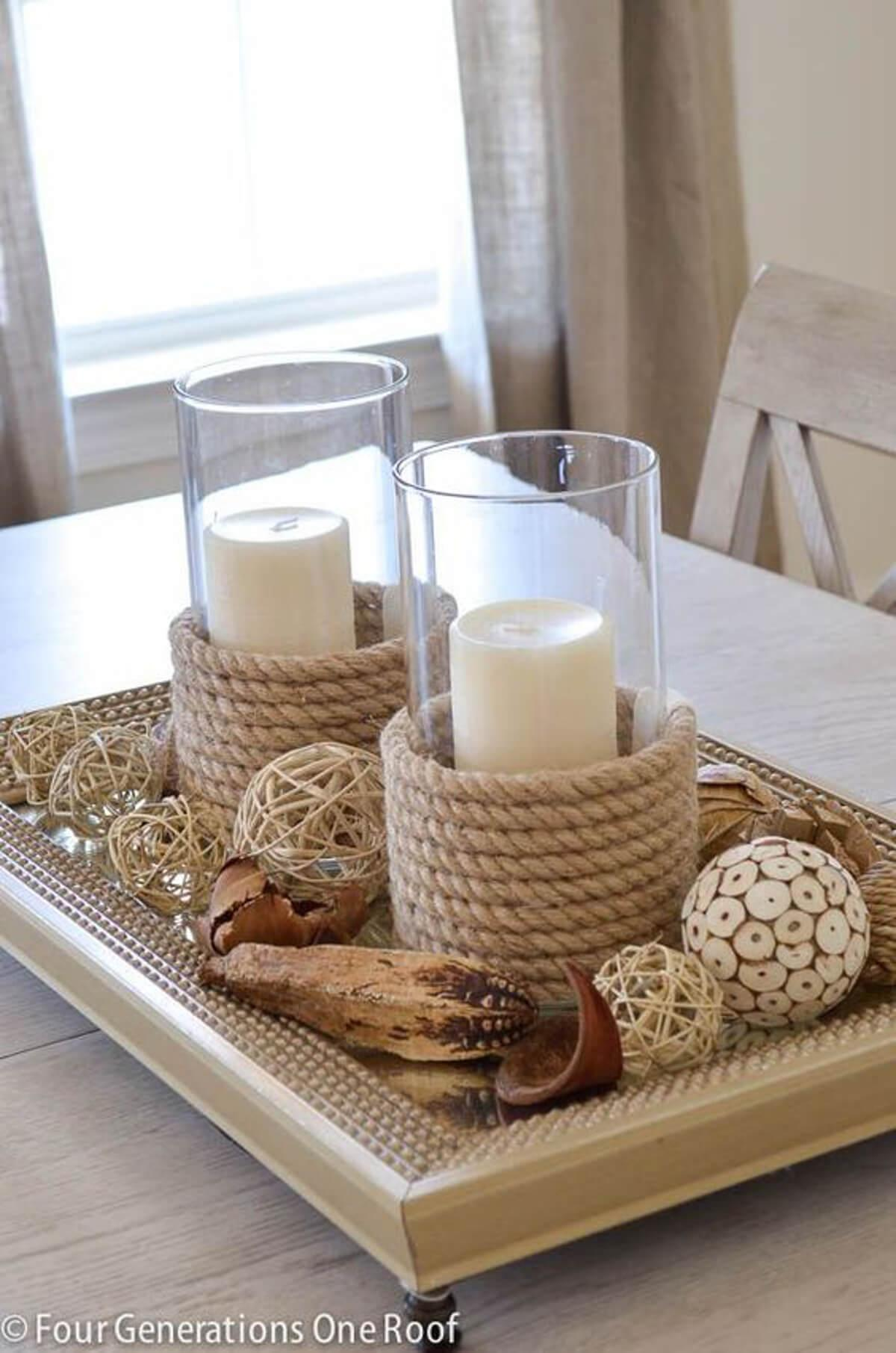 44 DIY Rope Candle Holders