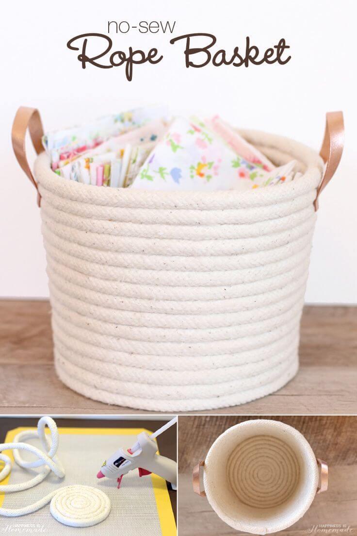 45 DIY Rope No Sew Baskets