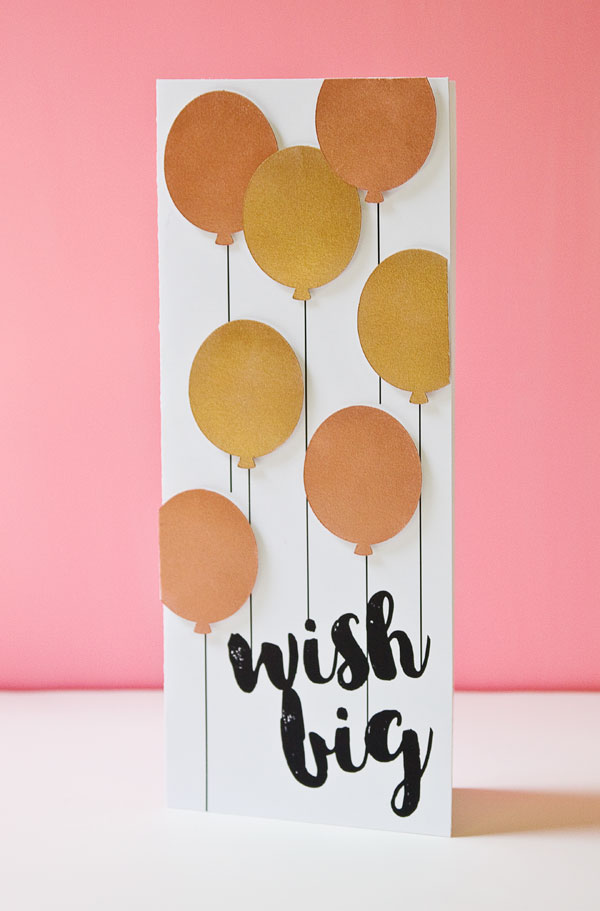 45 METALLIC BALLOONS BIRTHDAY CARD