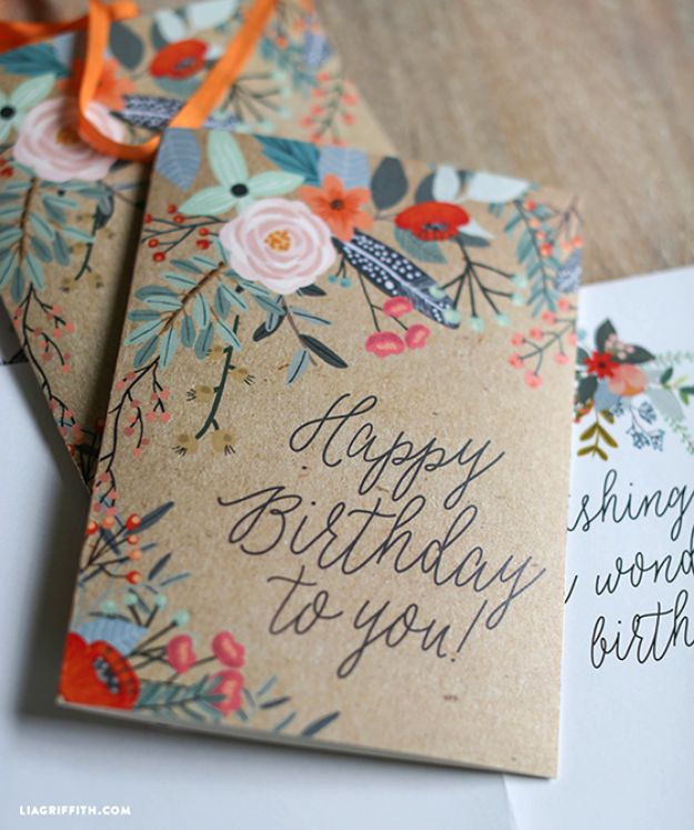 57 Pretty Printable Floral Greeting Cards