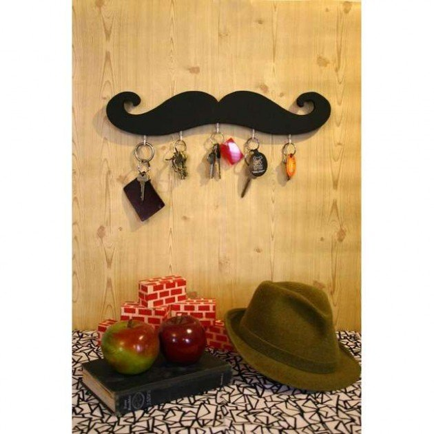 6 Black mustache key hook