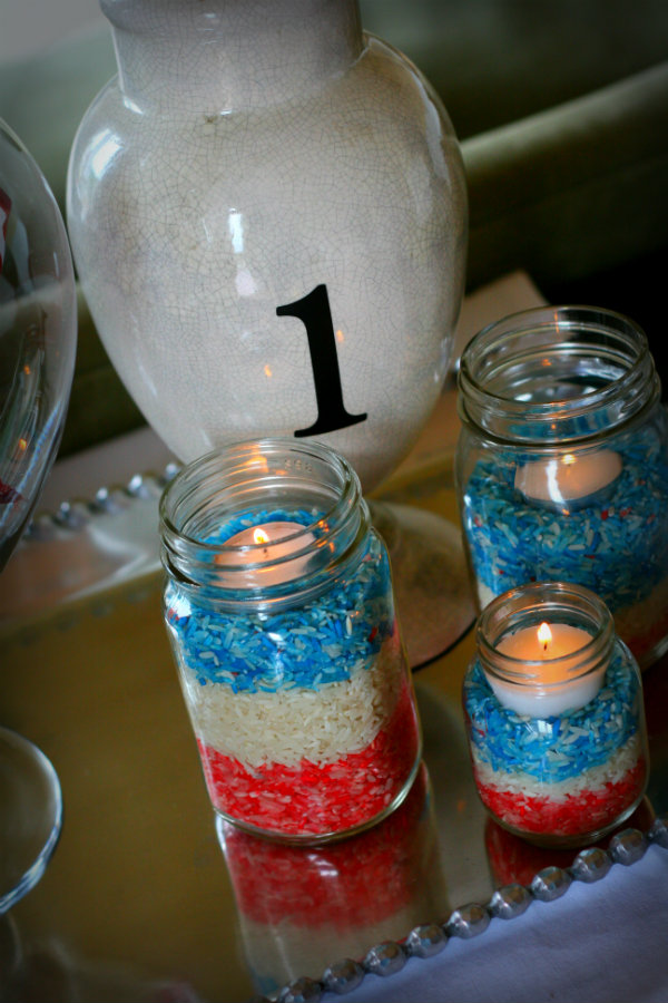 6 Colored Rice Votives
