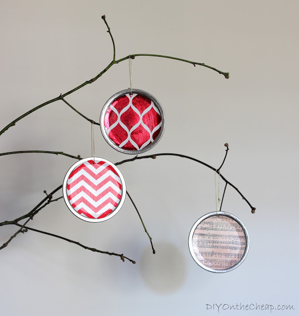 6 Mason Jar Lid Ornaments