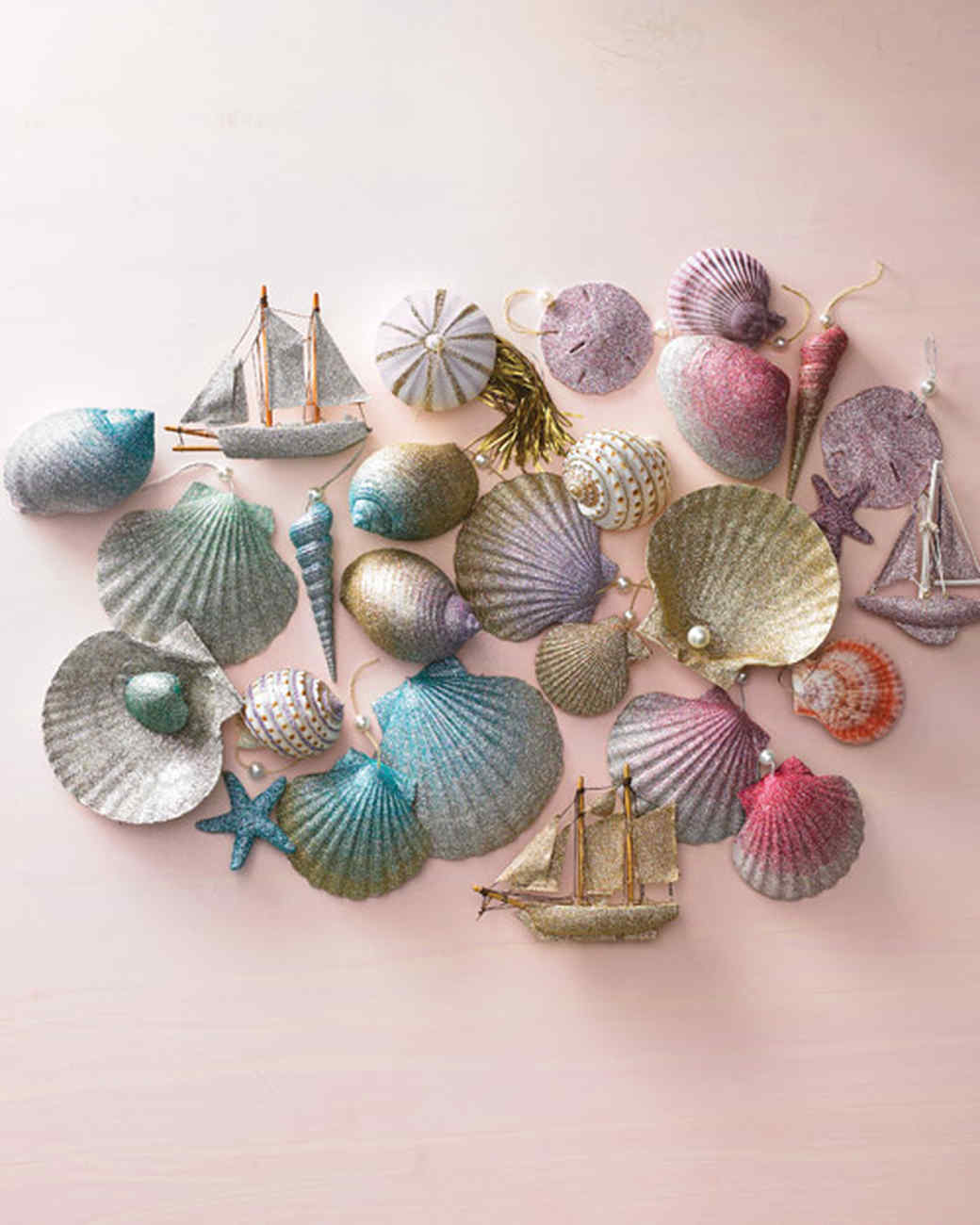 6 Ombre Glittered Seashell Ornaments