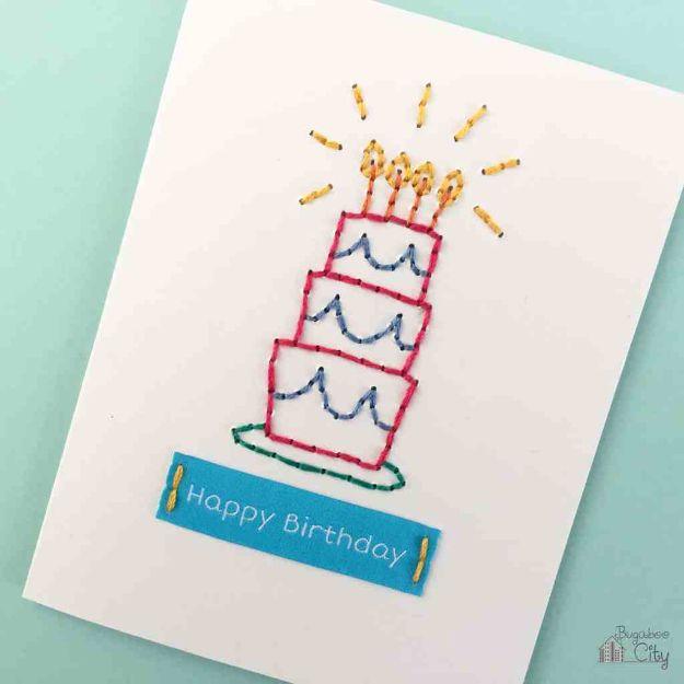 60 DIY Embroidered Birthday Card
