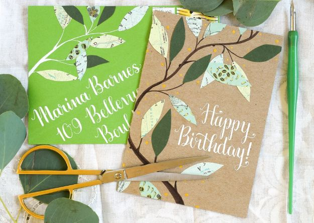 63 Leafy Homemade Birthday Card