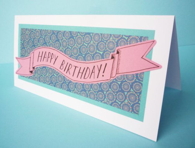64 Patterned Paper Banner Birthday Card
