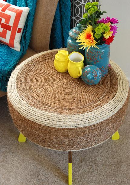 7 Make a Trendy Table from a Trash Pile Tire and Rope