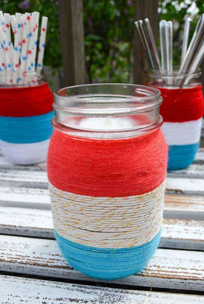 8 Patriotic Yarn Wrapped Mason Jars