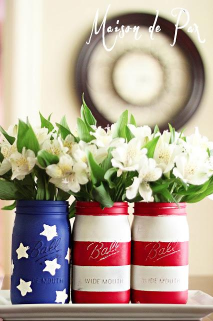 9 American Flag Mason Jar Vases