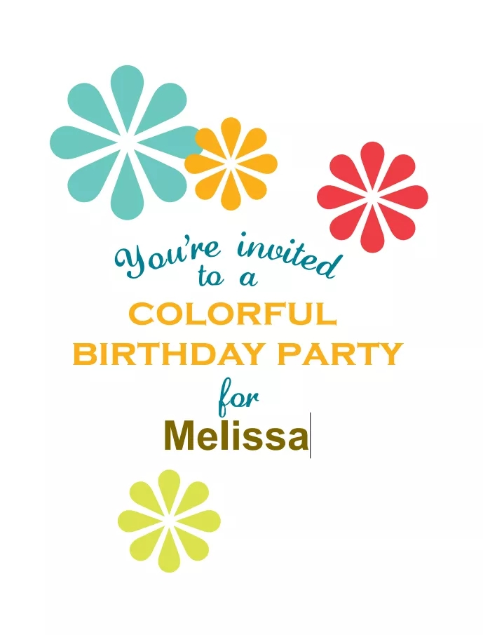 13 Colorful Flowers Birthday Party Invite