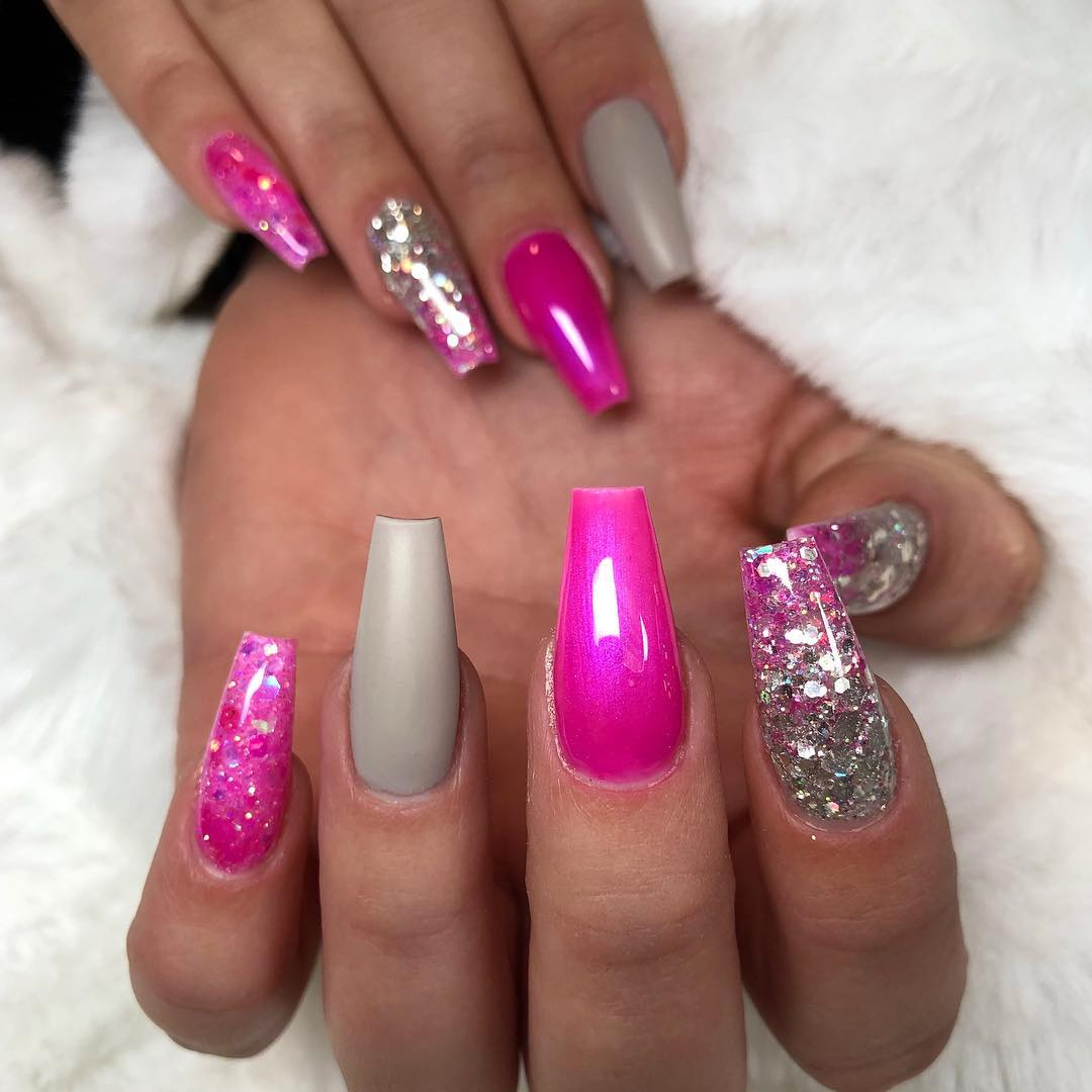 14 Pink Coffin Nail Designs