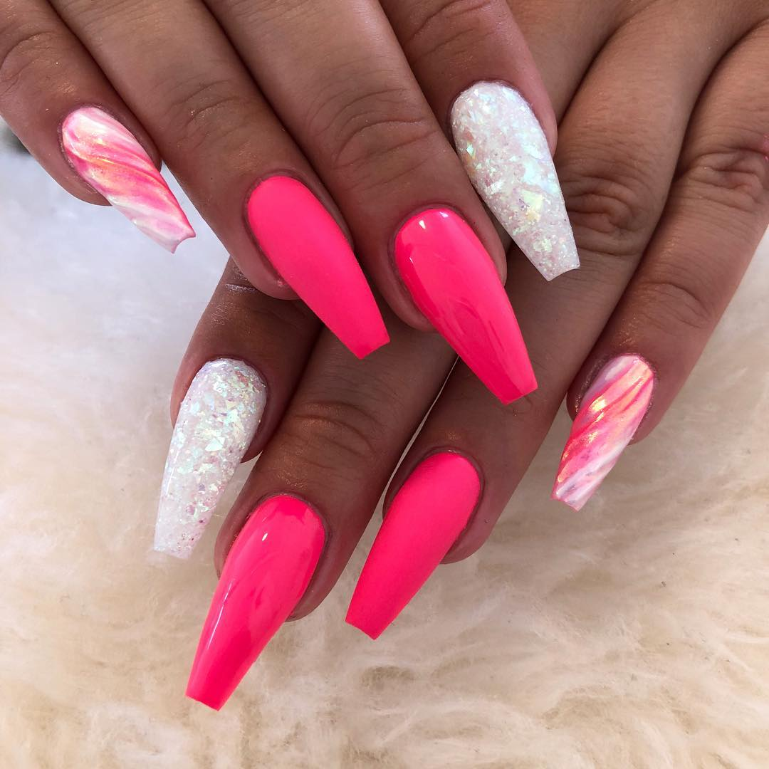 15 Pink Coffin Nail Designs