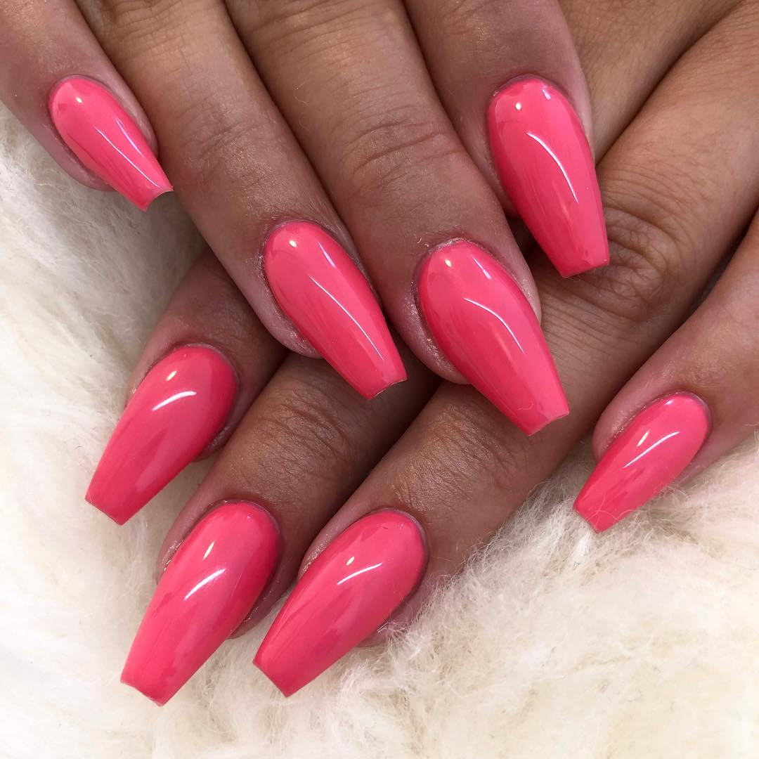 16 Pink Coffin Nail Designs
