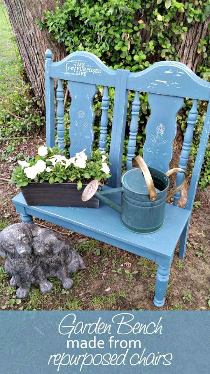 18 Garden Bench Made From Repurposed Chairs