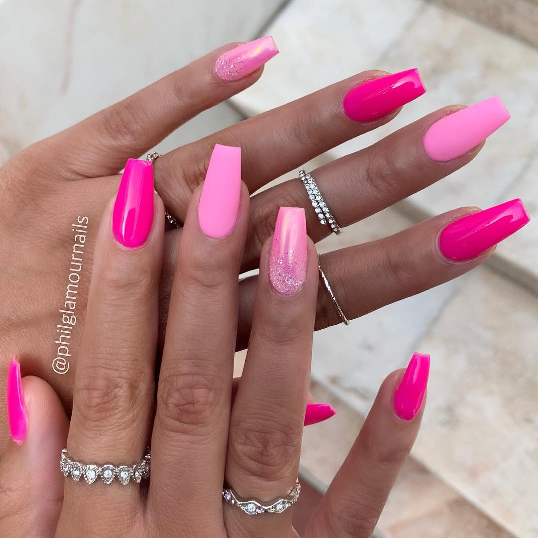 18 Pink Coffin Nail Designs