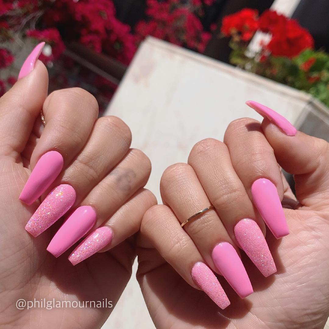 19 Pink Coffin Nail Designs