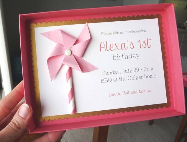 2 FIRST BIRTHDAY PARTY INVITATIONS