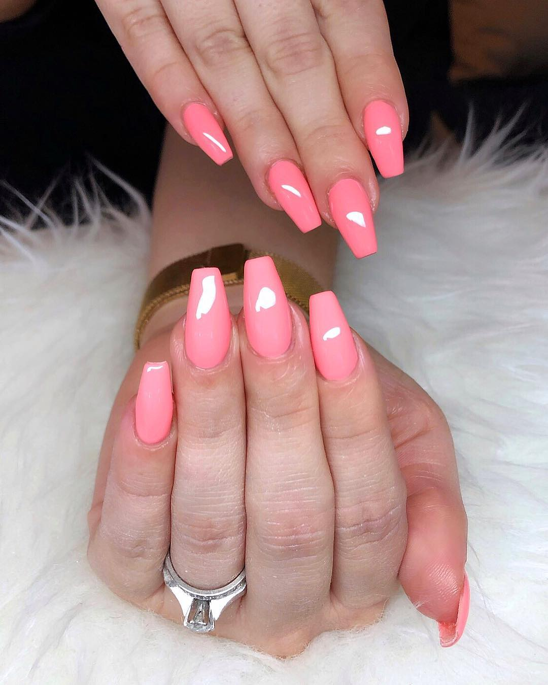 2 Pink Coffin Nail Designs