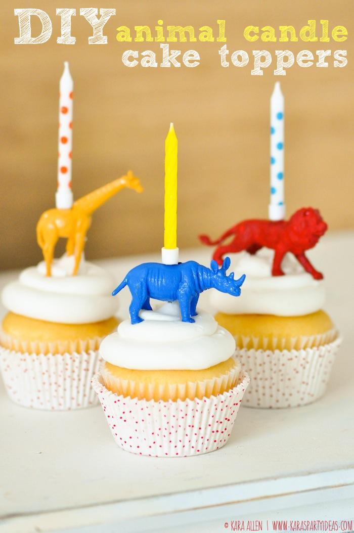 20 DIY Animal Birthday Candle Cupcake Toppers