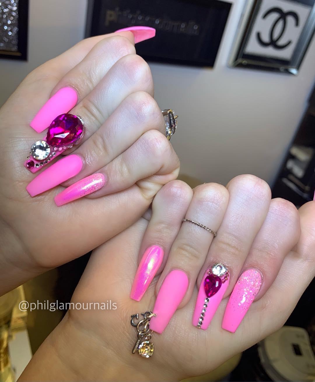 20 Pink Coffin Nail Designs