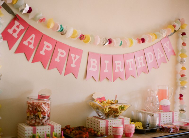 20 Pink Happy Birthday Banner