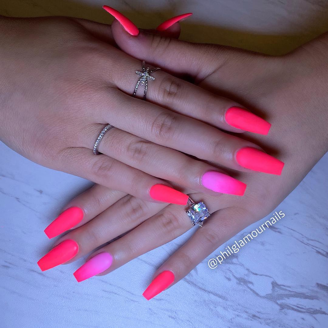 21 Pink Coffin Nail Designs
