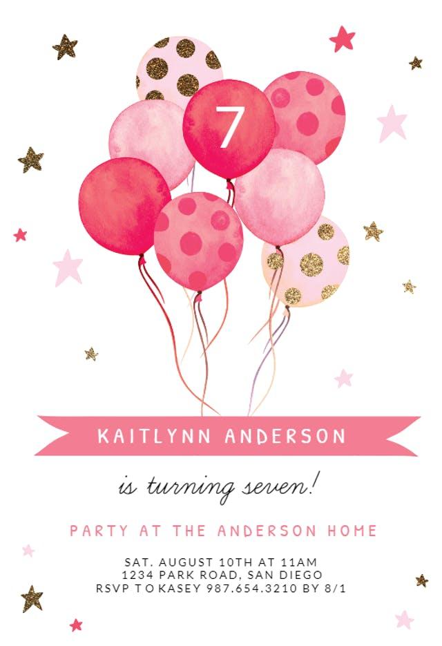 21 Watercolor Balloons Birthday Invitation