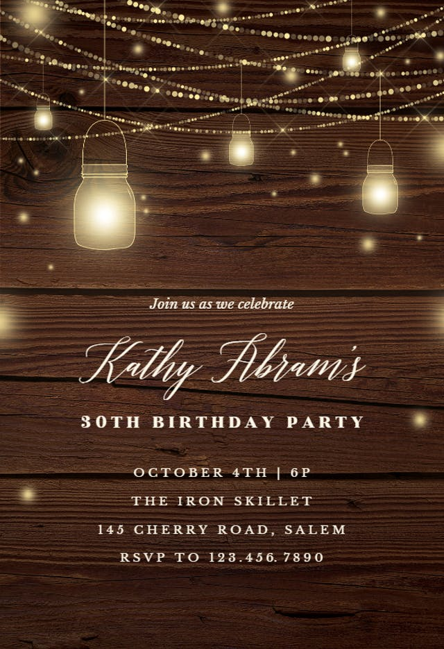 22 Strings of lights Birthday Invitation